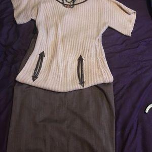 Brown tweed look Skirt